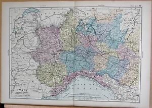Map Of North West Italy.1890 Large Victorian Map Italy North West Piedmont Liguria