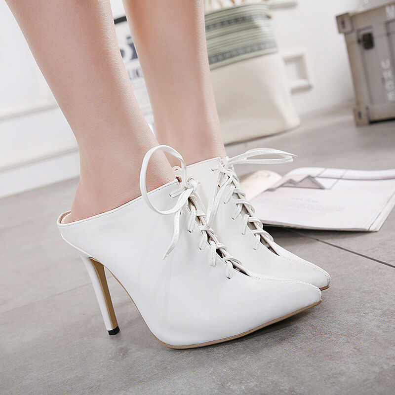 Women Stiletto Pointed Toe Lace Up Mules Slingback Sandals Slim High Heel Shoes