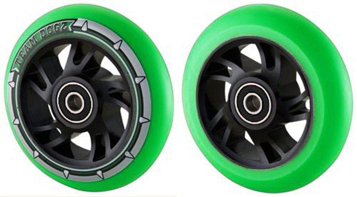 Paar Grün Grün Grün Pu Wirbel Kern Reifen 100mm Stunt Scooter ABEC11 Kinder + Bremsungs 2eaa9a