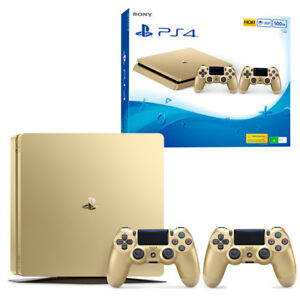 PS4-Slim-500GB-Gold-Console-with-Extra-Controller-NEW