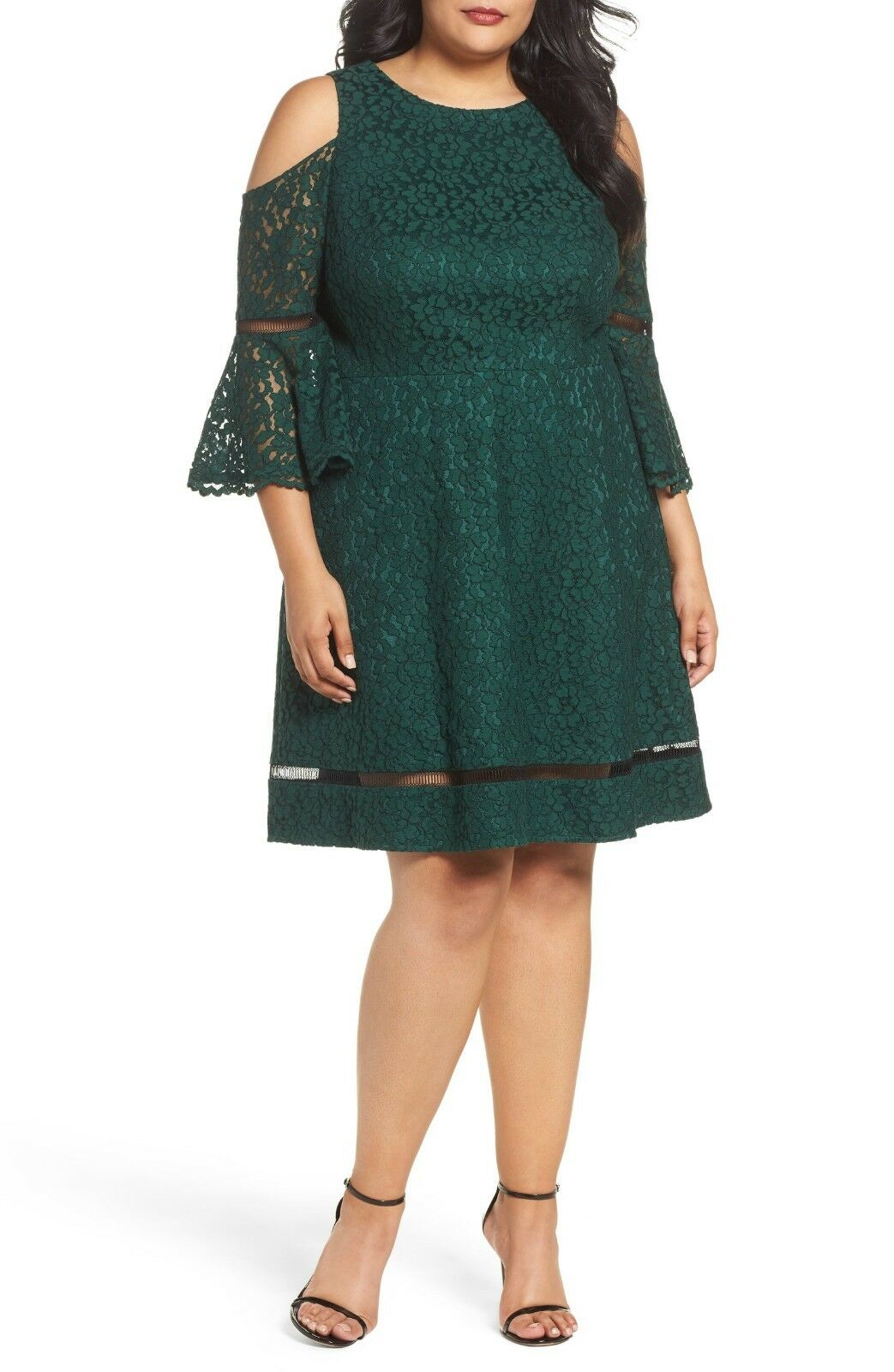 6eb018c3f43d6 New ELIZA J Cold Shoulder Bell Sleeve Lace Dress Emerald Green Size 18 W