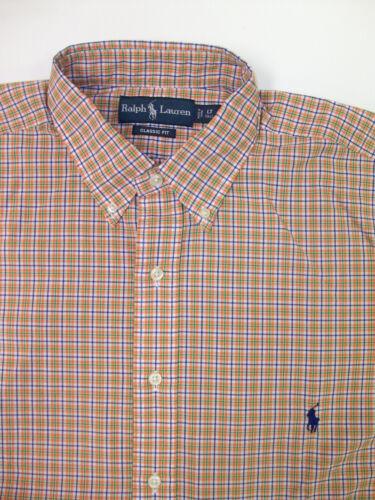 Polo Ralph Lauren LS Classic Fit Tattersall Plaid Poplin Shirt $98 Orange NWT