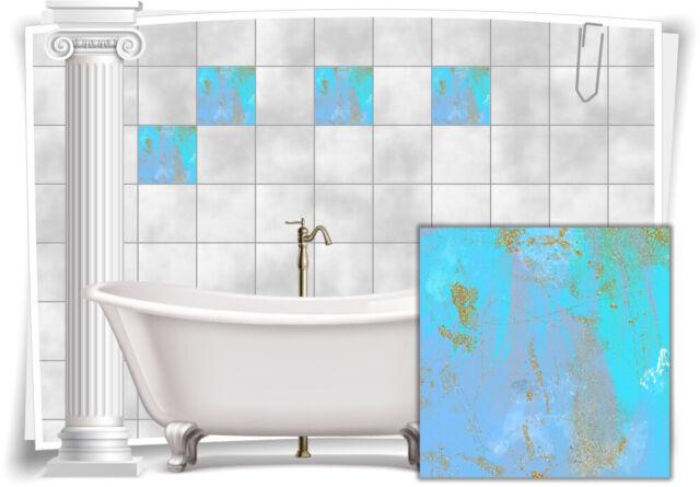 Fliesenaufkleber Fliesen Aufkleber Vintage Nostalgie Retro Blau Gold Bad WC