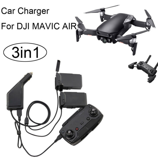 3 in1 USB Car Charger Remote Control Battery Charger For DJI Mavic AIR Drone UK