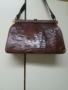 Image Is Loading Vintage 1950s Brown Genuine Alligator Med Frame Pocketbook