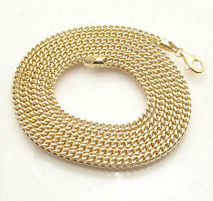 3mm Mens All Shiny Square Franco Link Chain Necklace Real