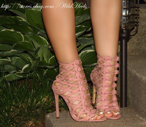 Dusty Pink Buttoned Front Diamond Cut Open Toe Bootie Heel Sandals US 6-11