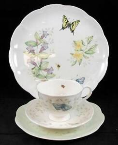 Lenox-BUTTERFLY-MEADOW-CLOUD-Cup-amp-Saucer-Dinner-Plate-Pie-plate-LIGHT-USE