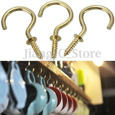 50 x Brass Cup Hooks Screws Plant Coat Picture Hanger Key Jewelry Display Holder