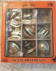 Shiny-Brite-Ornaments-Glass-Halloween-Glitter-8-in-Box-Teal-Gold-Black-Radio-Wow