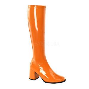 PLEASER-FUNTASMA-GoGo-300-Orange-Patent-Stretch-70s-Disco-Fancy-Dress-Knee-Boots