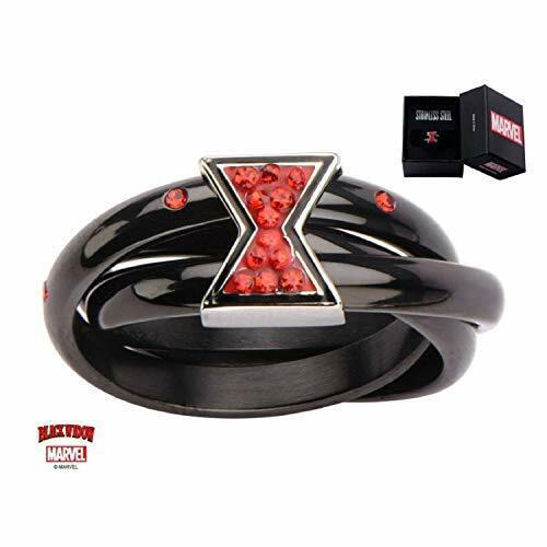 Schwarz IP Triple Ring Mit Black Widow Logo 6 Edelstahl Damen Ringgröße