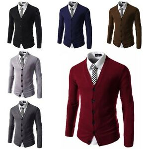 Men-039-s-Stylish-Casual-V-Neck-Knitted-Jumper-Sweater-Slim-Fit-Cardigan-Knitwear