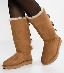 ced7136ccfd Details about Authentic UGG Brand Women's Shoes Sheepskin Bailey Bow Tall  II Boots Chestnut