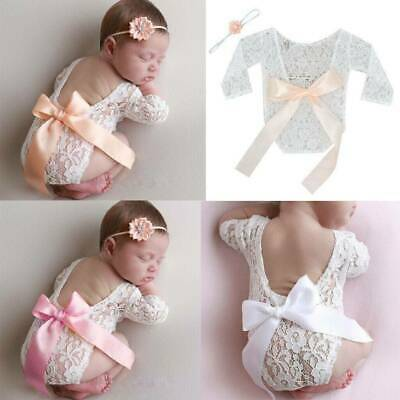Newborn Baby Girl Lace Bodysuit Photo Props Photography Costume LJ