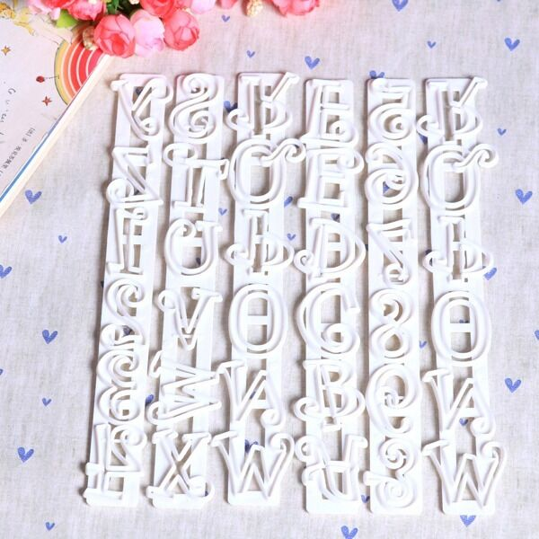 6 pcs Number and Letter Paste Frill Edge Frilling Cake Plunger Cutter Gum Baking