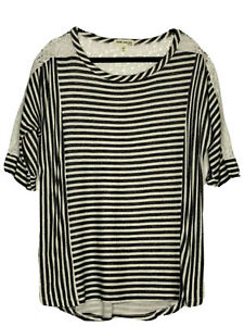 Faith-And-Joy-Los-Angeles-Ladies-Gray-Striped-Top-W-Lace-Insets-Size-XL