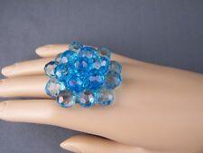 Aqua ring big huge faceted beads beaded flower cocktail adjustable wide