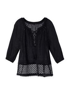Victoria-039-s-Secret-Crochet-Trim-Top-women-M-Sanded-Black-summer-beach-cover-up