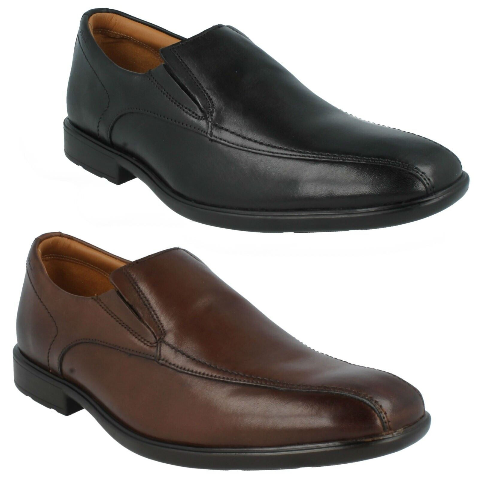 GOSWORTH STEP MENS CLARKS LEATHER SMART SLIP ON SHOES FORMAL DRESS LOAFERS