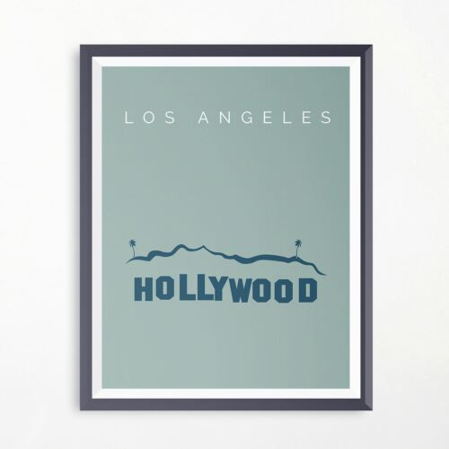 Los Angeles Hollywood Sign Travel Print Minimalistic Poster Vintage