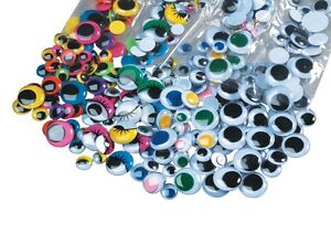 500 Paste On Craft & Doll Wiggly Eyes BIG Value Pack Assorted Colors & Sizes