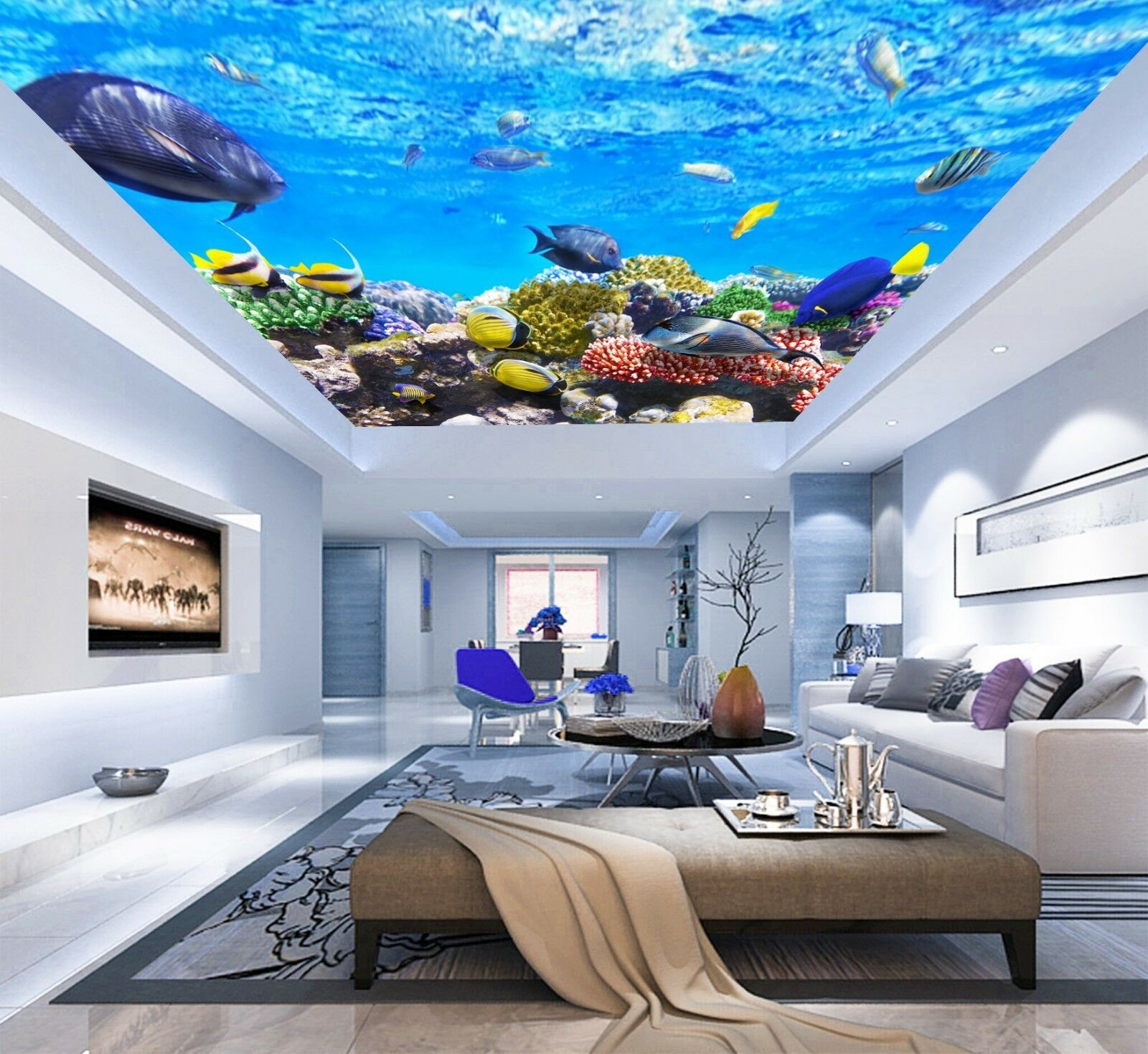 3D Ocean Fish Group 47 Ceiling Wall Paper Print Wall Indoor Wall Murals CA Jenny