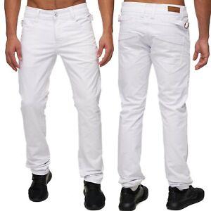 Slim-Fit-Jeans-Pantalons-pour-hommes-blanc-cinq-style-de-poche-boucle-de-jambe-d