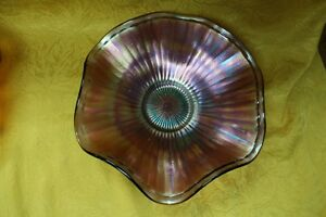 EAPG-Beautiful-Fenton-Amethyst-Stippled-Rays-Carnival-Glass-Footed-Bowl-9-5-034