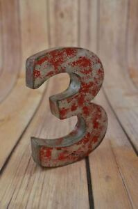 FANTASTIC VINTAGE STYLE RED 3D METAL SHOP SIGN NUMBER 3 ADVERTISING FONT