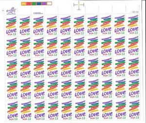 US SCOTT 2143 PANE OF 50 LOVE STAMPS 22 CENT FACE MNH