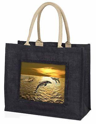 Gold Meer Sonnenuntergang Delphine große schwarze Einkaufstasche