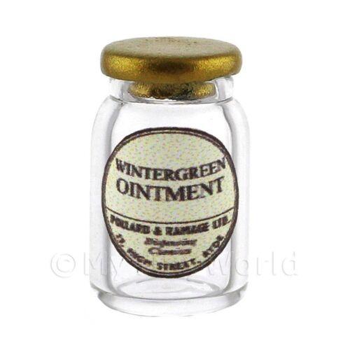 Miniatura Tarro de Vidrio de boticario Ungüento Pomada de Gaulteria