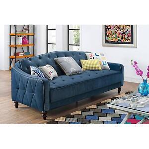 Novogratz-Vintage-Tufted-Sofa-Sleeper-II-Blue-Bed-Couch-Futon-Lounger-room-NEW