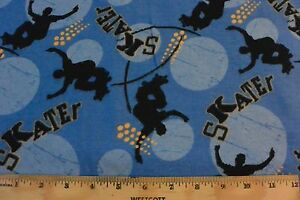 Snuggle Skateboarding and sports Bright Colors Flannel Fabric