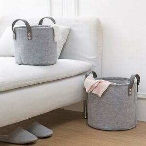 Felt-Material-Cylinder-Sundries-Collect-Storage-Basket-Lightweight-And-Stur-W1T4