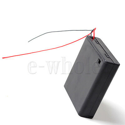 4 x AA Battery Holder Box 6V Case W/ lead ON/OFF Switch Enclosed Box Snap On HM