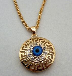 18k gold plated turkish greek evil eye crystal round pendant nazar image is loading 18k gold plated turkish greek evil eye crystal mozeypictures Images