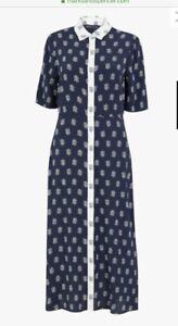 BNWT-Marks-amp-Spencer-Collection-Foulard-print-Shirt-Midi-Dress-Navy-Size-8-10