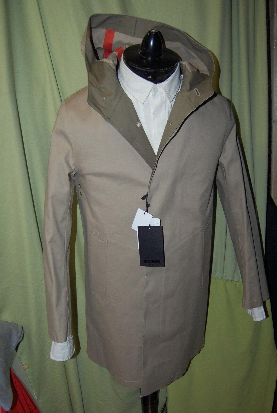 NWT TODD SNYDER NEW YORK mens khaki hood trench coat Größe 34 HANDMADE SCOTLAND