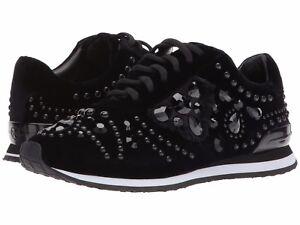 a9852fe7c10b NEW Tory Burch SCARLETT RUNNER VELVET Embellished Sneakers Black ...