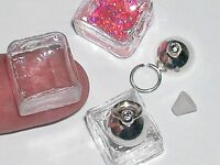 1 Glass Ice Cube Tube Bottle Vial Silver Plated Small Necklace Pendant Charm
