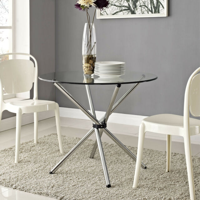 Round Dining Table Tempered Clear Glass chrome-plated Pedestal Base Indoor New