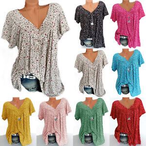 Women-Plus-Size-V-Neck-Floral-Print-T-shirt-Short-Sleeve-Blouse-Loose-Tops-Beach