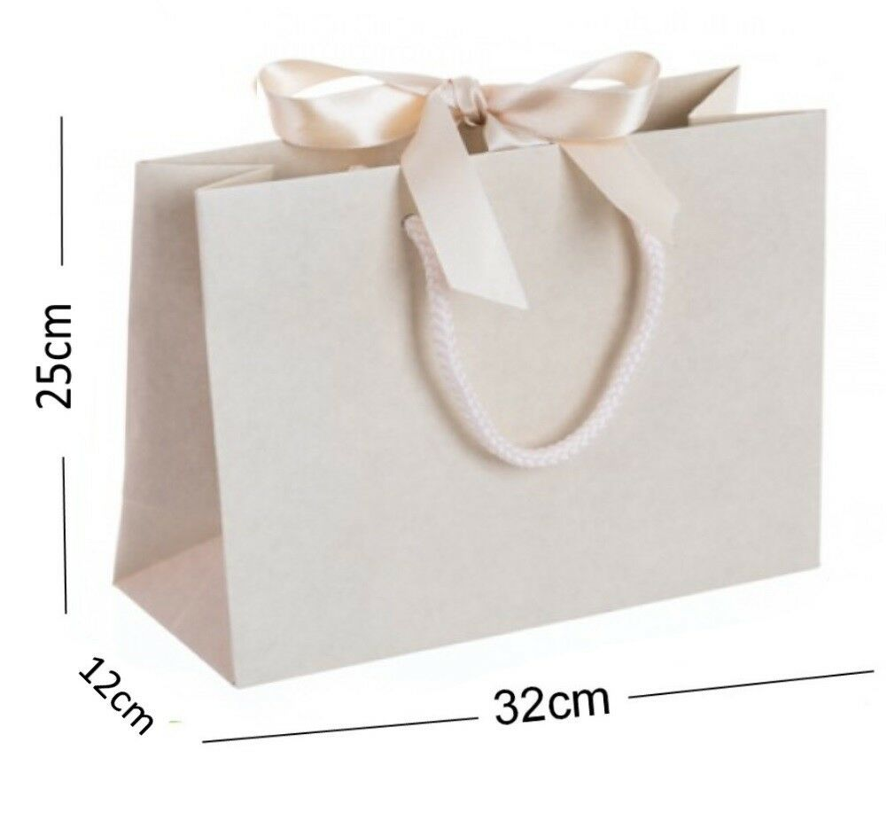 Ivory Vanilla Medium Ribbon Gift Bags - Rope Handle Wedding Bridesmaid Baby Bag