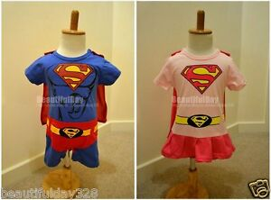 Baby-Boy-Girl-Superboy-Superman-Supergirl-Superhero-Fancy-Dress-Bodysuit-Outfit