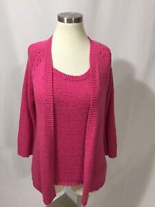 f0cd3f60ad568c Goldwater Creek Knit Pink Cardigan Tank Sweater Set Twinset Medium ...
