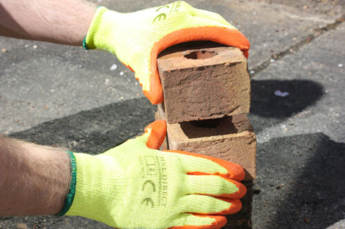 ORANGE LATEX RUBBER COATED NYLON SAFETY WORK GRIPPER GLOVES BUILDER GARDENING
