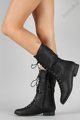 Womens Lace Up Boot Knee High Combat Fashion Military Boots Faux Leather Size