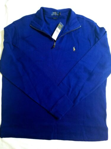 Ralph 712168261581 Uomo scollo costine a a Blue Large Royal lunghe maniche Polo a con collo Lauren aBxdnq